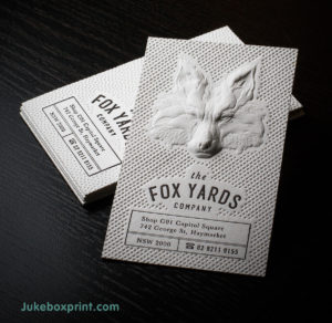 Inspiring examples of letterpress name card printing singapore made by jukebox print these ultra thick cotton paper letterpress business cards pass on 3d embossed design to the table using jukebox prints own specific colourmoves
